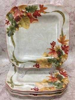 222 Fifth AUTUMN CELEBRATION Square Dinner Plates Set of  Th