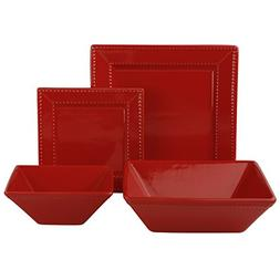10 Strawberry Street 19 Piece Beaded Square Dinnerware Set,