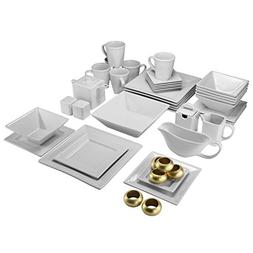 10 Strawberry Street 45 Piece Beaded Square Dinnerware Set,
