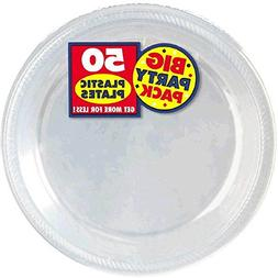 Amscan Big Party Pack Plastic Lunch Plates, 10.5-Inch, Clear