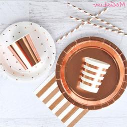 Birthday Party Tableware Rose Gold Theme Cups Paper <font><b