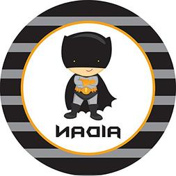 Black and Grey Caped Superhero Personalized Melamine Plate