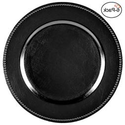 black round beaded charger plates
