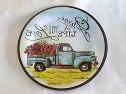 Blue Farm Truck Melamine Dinner Plates Set Of 4 Grow A Life
