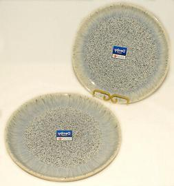 DENBY - Blue Gray Cream HALO - Speckled Coupe DINNER PLATES