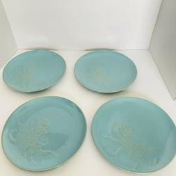 """Pottery Barn Blue Octopus 9"""" Plates Ships USPS PRIORITY MA"""