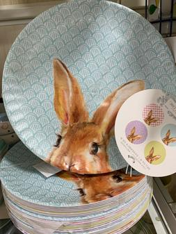 Shabby Chic Bunny Rabbit Ears Gingham 100% MELAMINE Dinner P
