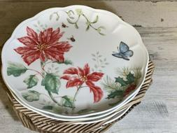 Lenox Butterfly Meadow Holiday dinner plates poinsettia Set