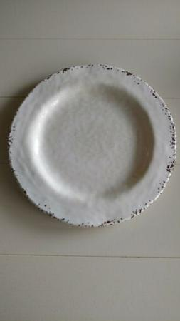 Carmelo White Rustic Crackled Melamine Dinner Plates farmhou