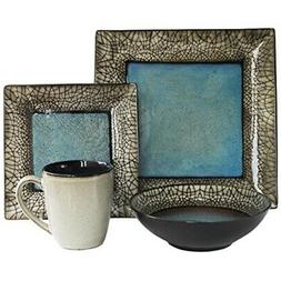 Casual Dinnerware Sets Square Dishes Kitchen Everyday Blue B