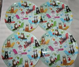 Cats of Summer in Lounge Chairs Melamine DINNER PLATES Set o