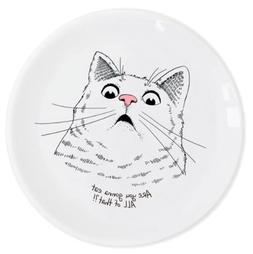 Ceramic Dinner Plate with Surprised Cat Decal by ORNER UKRAI