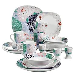 VEWEET 20-Piece Ceramic Dinner Sets Splendor Plate Sets Kitc