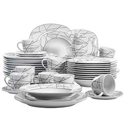 VEWEET 60-Piece Ceramic Dinnerware Set Ivory White Irregular