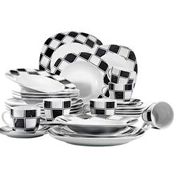 ceramic tableware black grids patterns