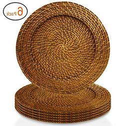 American Atelier Charger Plates 13 Inch Round Rattan Set of