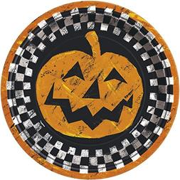 Checkered Halloween Paper Party Plates, 8ct