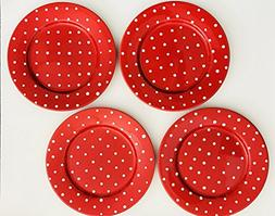 Cherry Red With White Dots | Set of 4 Dinner Plates | Hand P