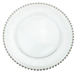 Clear Glass Charger 12.6 Inch Dinner Plate With Beaded Rim -