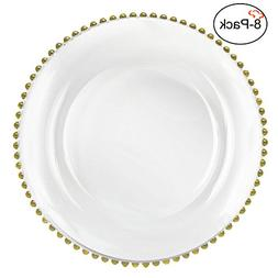 Tiger Chef 12-inch Clear Round Beaded Glass Charger Plates S