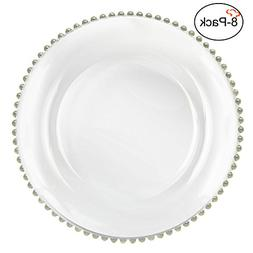 Tiger Chef 13-inch Clear Round Beaded Glass Charger Plates S