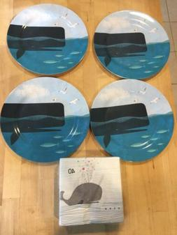 Coastal Whale Dinner Plates Set of 4  Melamine Beach Nautica