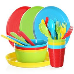 Complete Plastic Dinnerware Cutlery Set - 24 Piece Bright Du