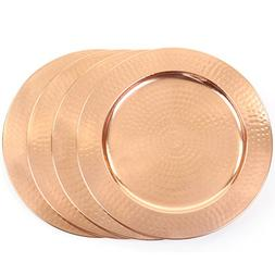 Koyal Wholesale 4-Pack Copper Metal Hammered Charger Plates