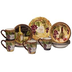 Certified International 89118 Gilded Wine 16 pc. Dinnerware