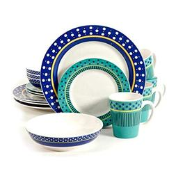 Dinnerware Set. 16 Piece Dinner Dish Kit For 4 Person Multi