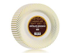 Bulk Pack of 50 Disposable Plastic Party and Dinner Plates -