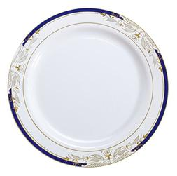 Signature Blu 120 Piece Dinner Plate with Cobalt Trim & Gold
