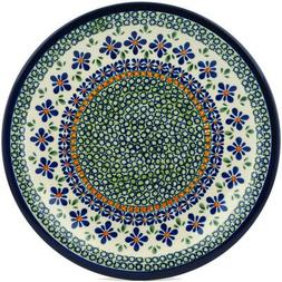 Polish Pottery Dinner Plate 11-inch Gingham Flowers