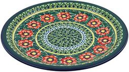 Polish Pottery Dinner Plate 11-inch Poppies All Around UNIKA
