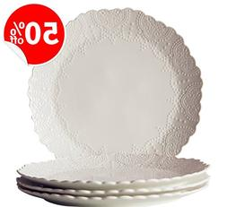 Dinner Plates Set of 4, Accent Serving Plates 10.2 Inch, Sca