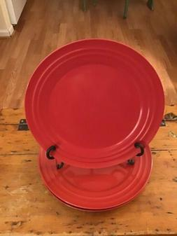 "Rachael Ray Dinner Plates RED DOUBLE RIDGE 11"" Excellent!"