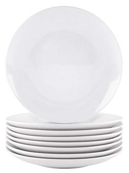 Bestone 8-Piece Dinner Plates Set White Porcelain,Dishwasher