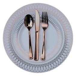Dinner - Wedding Disposable Plastic Plates & silverware Set,