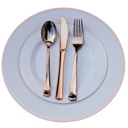 Dinner/ Wedding Disposable Plastic Plates & silverware Set,