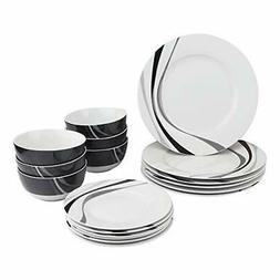 AmazonBasics 18-Piece Dinnerware Set - Swirl, Service for 6