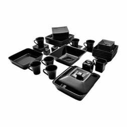 Dinnerware Set Black Square Kitchen Banquet 45 Piece Dinner