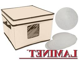 LAMINET Dinnerware Storage Box with Lid & Handles - Fits 12
