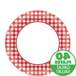 Disposable Classic Picnic Red Gingham Border Round Plates Pa