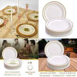 "DISPOSABLE PLASTIC DINNER PLATES 10.25"" Glare IVORY/Gold 20"