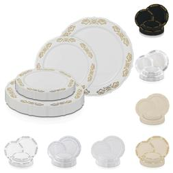 Disposable Plastic Plates Dinner Party Wedding Salad Embosse
