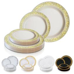 Disposable Plastic Plates Dinner Party Wedding Salad Round L