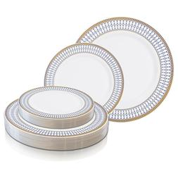 Disposable Plastic Plates Dinner Party Wedding Salad Round C