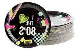 Disposable Plates - 80-Count Paper Plates, Totally 80s Party