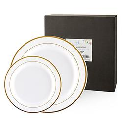 60 Pack Disposable or Reusable Plastic Plates, White with Go