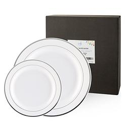 60 Pack Disposable or Reusable Plastic Plates, White with Si